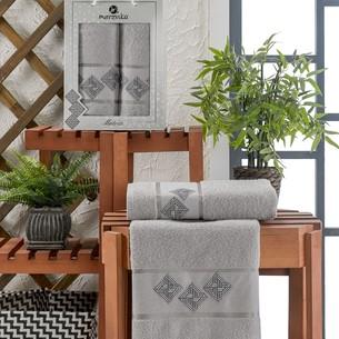 Подарочный набор полотенец для ванной 50х90, 70х140 Merzuka MATRIX хлопковая махра серый