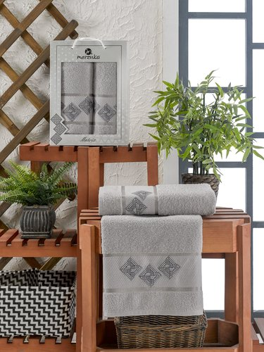 Подарочный набор полотенец для ванной 50х90, 70х140 Merzuka MATRIX хлопковая махра серый, фото, фотография