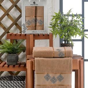 Подарочный набор полотенец для ванной 50х90, 70х140 Merzuka MATRIX хлопковая махра коричневый