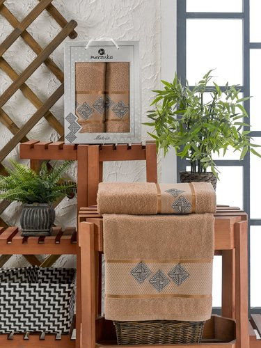 Подарочный набор полотенец для ванной 50х90, 70х140 Merzuka MATRIX хлопковая махра коричневый, фото, фотография