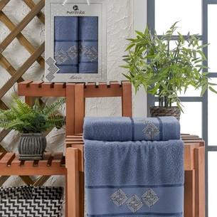 Подарочный набор полотенец для ванной 50х90, 70х140 Merzuka MATRIX хлопковая махра темно-голубой