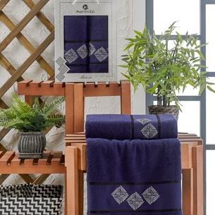 Подарочный набор полотенец для ванной 50х90, 70х140 Merzuka MATRIX хлопковая махра синий