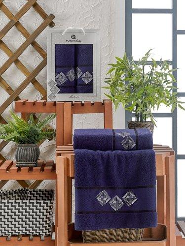 Подарочный набор полотенец для ванной 50х90, 70х140 Merzuka MATRIX хлопковая махра синий, фото, фотография