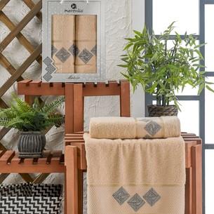 Подарочный набор полотенец для ванной 50х90, 70х140 Merzuka MATRIX хлопковая махра бежевый