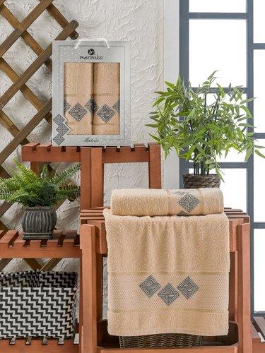 Подарочный набор полотенец для ванной 50х90, 70х140 Merzuka MATRIX хлопковая махра бежевый, фото, фотография