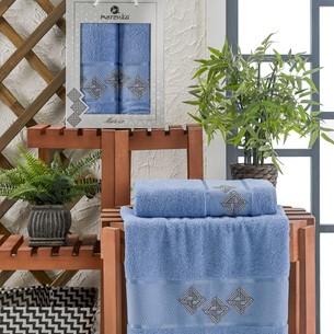 Подарочный набор полотенец для ванной 50х90, 70х140 Merzuka MATRIX хлопковая махра голубой
