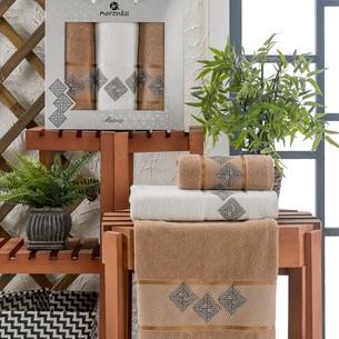 Подарочный набор полотенец для ванной 50х90(2), 70х140(1) Merzuka MATRIX хлопковая махра коричневый