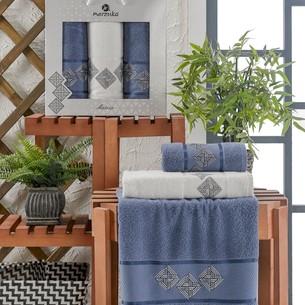 Подарочный набор полотенец для ванной 50х90(2), 70х140(1) Merzuka MATRIX хлопковая махра темно-голубой