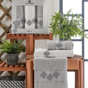 Подарочный набор полотенец для ванной 50х90(2), 70х140(1) Merzuka MATRIX хлопковая махра серый