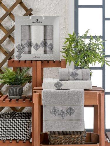 Подарочный набор полотенец для ванной 50х90(2), 70х140(1) Merzuka MATRIX хлопковая махра серый, фото, фотография