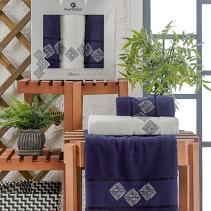 Подарочный набор полотенец для ванной 50х90(2), 70х140(1) Merzuka MATRIX хлопковая махра синий