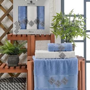 Подарочный набор полотенец для ванной 50х90(2), 70х140(1) Merzuka MATRIX хлопковая махра голубой