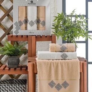 Подарочный набор полотенец для ванной 50х90(2), 70х140(1) Merzuka MATRIX хлопковая махра бежевый