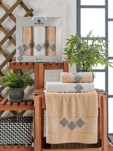 Подарочный набор полотенец для ванной 50х90(2), 70х140(1) Merzuka MATRIX хлопковая махра бежевый, фото, фотография