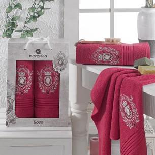 Подарочный набор полотенец для ванной 50х80, 70х130 Merzuka BOSS хлопковая махра бордовый