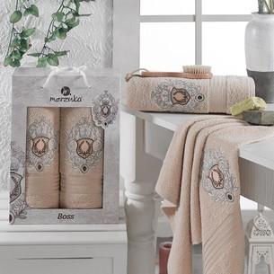Подарочный набор полотенец для ванной 50х80, 70х130 Merzuka BOSS хлопковая махра бежевый