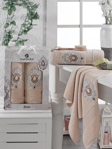 Подарочный набор полотенец для ванной 50х80, 70х130 Merzuka BOSS хлопковая махра бежевый, фото, фотография