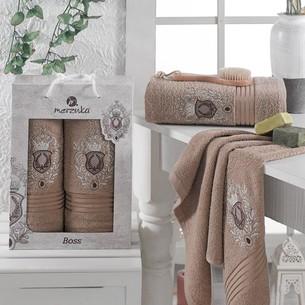 Подарочный набор полотенец для ванной 50х80, 70х130 Merzuka BOSS хлопковая махра коричневый