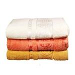 Набор полотенец для ванной 3 шт. Cestepe MICRO DELUX микрокоттон оранжевый, кремовый 70х140, фото, фотография