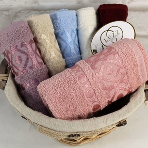 Набор полотенец для ванной 6 шт. Luzz GEOMETRIK хлопковая махра 50х90