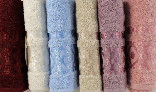 Набор полотенец для ванной 6 шт. Luzz GEOMETRIK хлопковая махра 50х90, фото, фотография