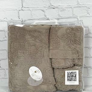 Набор полотенец для ванной 3 пр. Pupilla MAYA хлопковая махра коричневый