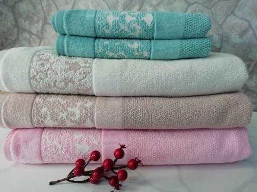 Набор полотенец для ванной 6 шт. Ozdilek ELENOR хлопковая махра розовый 50х90, фото, фотография