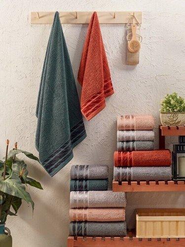 Набор полотенец для ванной 6 шт. Sikel ALYA хлопковая махра 50х90, фото, фотография