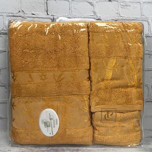 Набор полотенец для ванной 3 пр. Pupilla ELIT бамбуковая махра золотистый