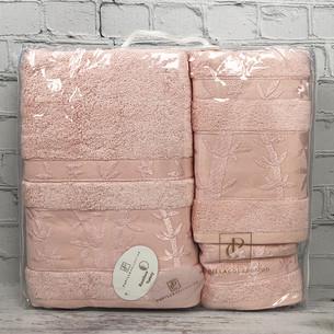 Набор полотенец для ванной 3 пр. Pupilla ELIT бамбуковая махра светло-розовый