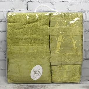 Набор полотенец для ванной 3 пр. Pupilla ELIT бамбуковая махра зелёный