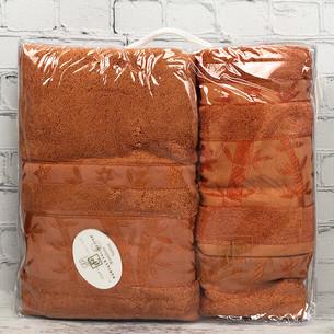 Набор полотенец для ванной 3 пр. Pupilla ELIT бамбуковая махра коричневый