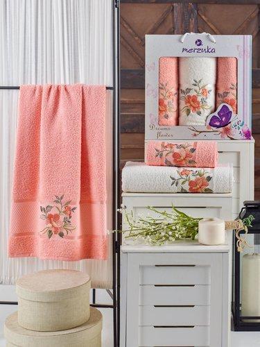 Подарочный набор полотенец для ванной 50х90(2), 70х140(1) Merzuka DREAMS FLOWER хлопковая махра оранжевый, фото, фотография