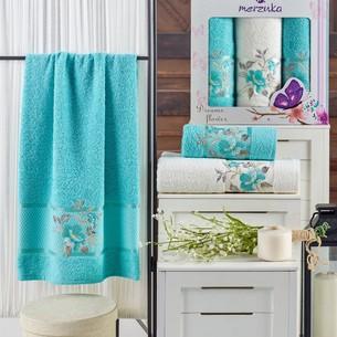 Подарочный набор полотенец для ванной 50х90(2), 70х140(1) Merzuka DREAMS FLOWER хлопковая махра бирюзовый