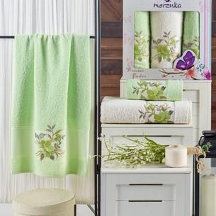 Подарочный набор полотенец для ванной 50х90(2), 70х140(1) Merzuka DREAMS FLOWER хлопковая махра фисташковый