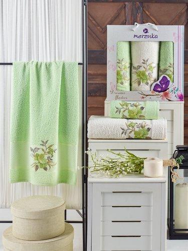 Подарочный набор полотенец для ванной 50х90(2), 70х140(1) Merzuka DREAMS FLOWER хлопковая махра фисташковый, фото, фотография
