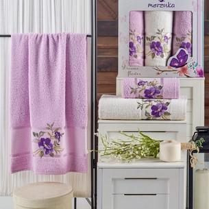 Подарочный набор полотенец для ванной 50х90(2), 70х140(1) Merzuka DREAMS FLOWER хлопковая махра сиреневый