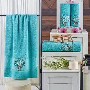 Подарочный набор полотенец для ванной 50х90, 70х140 Merzuka EMOTION хлопковая махра бирюзовый