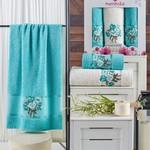 Подарочный набор полотенец для ванной 50х90(2), 70х140(1) Merzuka EMOTION хлопковая махра бирюзовый, фото, фотография