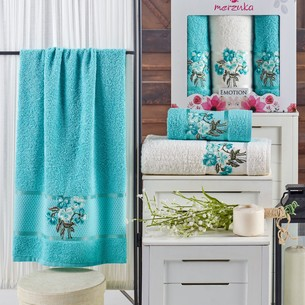 Подарочный набор полотенец для ванной 50х90(2), 70х140(1) Merzuka EMOTION хлопковая махра бирюзовый