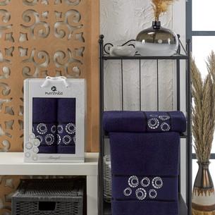 Подарочный набор полотенец для ванной 50х90, 70х140 Merzuka BANGLE хлопковая махра синий