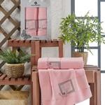 Подарочный набор полотенец для ванной 50х90, 70х140 Merzuka CLASSY хлопковая махра розовый, фото, фотография