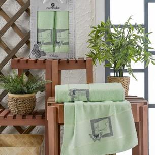 Подарочный набор полотенец для ванной 50х90, 70х140 Merzuka CLASSY хлопковая махра фисташковый