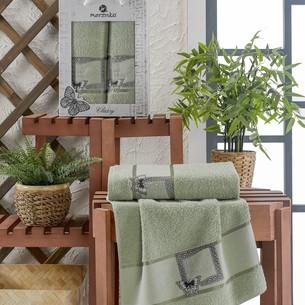 Подарочный набор полотенец для ванной 50х90, 70х140 Merzuka CLASSY хлопковая махра зеленый