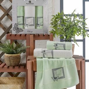 Подарочный набор полотенец для ванной 50х90(2), 70х140(1) Merzuka CLASSY хлопковая махра фисташковый