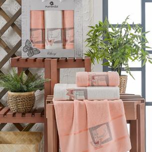 Подарочный набор полотенец для ванной 50х90(2), 70х140(1) Merzuka CLASSY хлопковая махра оранжевый