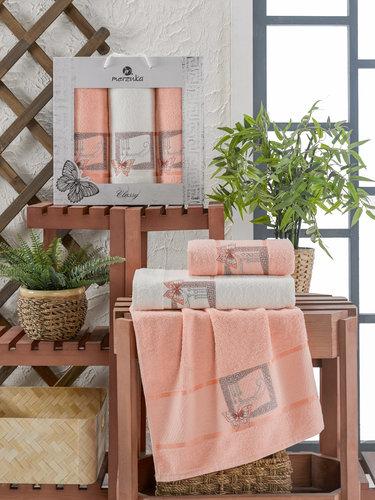 Подарочный набор полотенец для ванной 50х90(2), 70х140(1) Merzuka CLASSY хлопковая махра оранжевый, фото, фотография