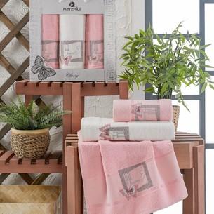 Подарочный набор полотенец для ванной 50х90(2), 70х140(1) Merzuka CLASSY хлопковая махра розовый
