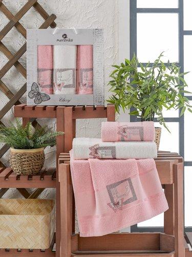 Подарочный набор полотенец для ванной 50х90(2), 70х140(1) Merzuka CLASSY хлопковая махра розовый, фото, фотография