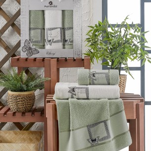 Подарочный набор полотенец для ванной 50х90(2), 70х140(1) Merzuka CLASSY хлопковая махра зеленый